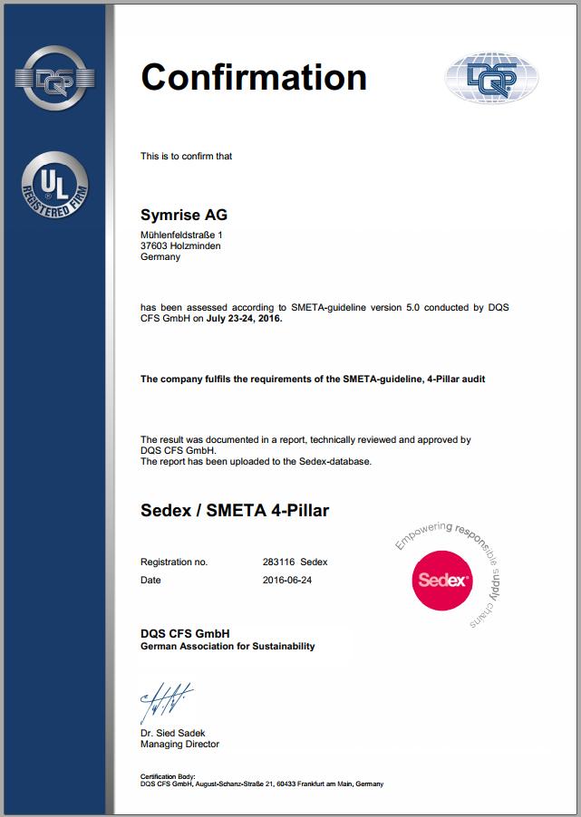 Mẫu thư xác nhận đạt chứng nhận Sedex-SMETA