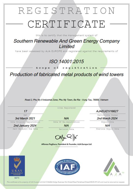 ISO 14001:2015 cho công ty SRE
