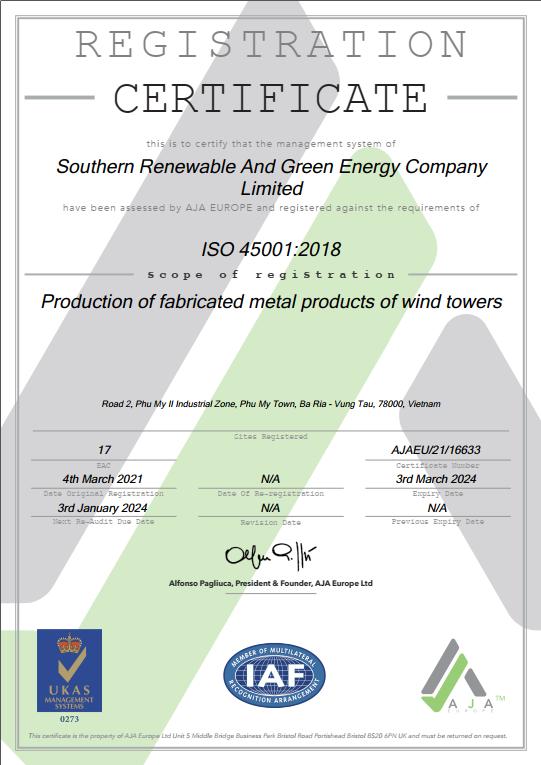 ISO 45001:2018 cho công ty TNHH SRE