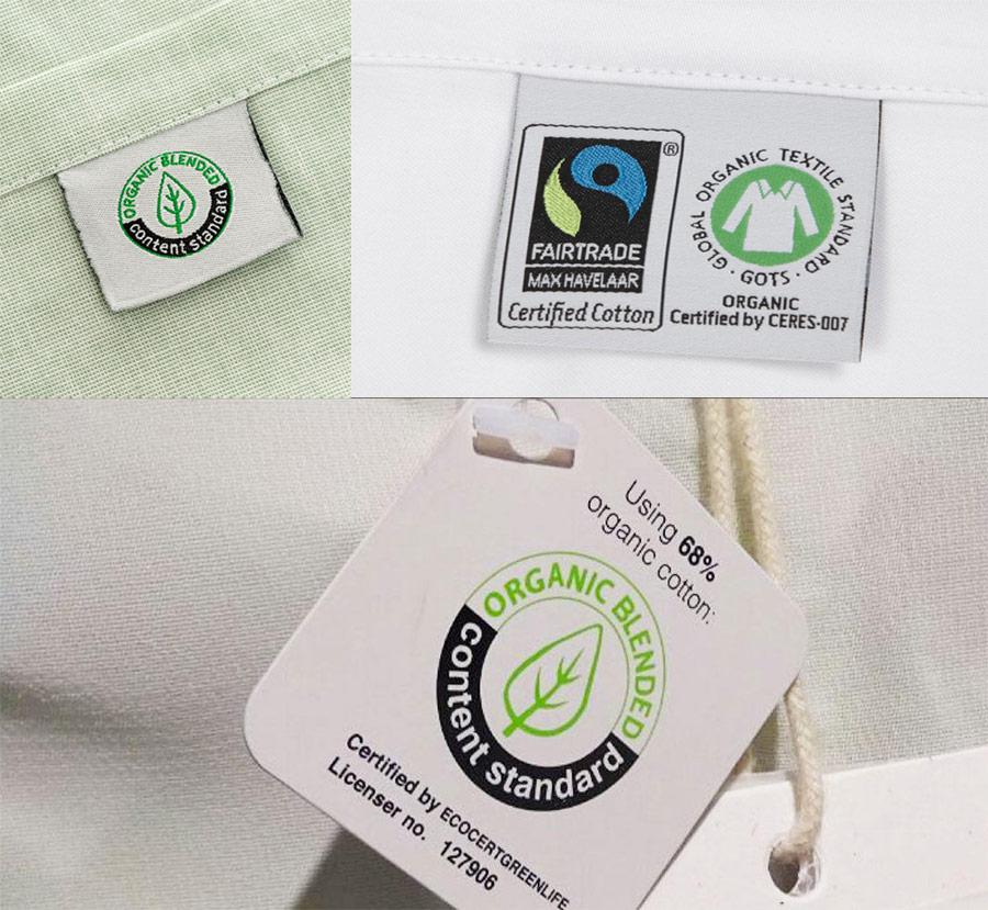 Nhãn dán của chứng nhận OCS trên sản phẩm tiêu dùng.
